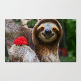Happy sloth eating hibiscus flowers Canvas Print