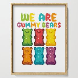"Desert Design For Sweet Lovers T-shirt Design ""We Are Gummy Bears"" Cherry Icing Cake Dessert Bear Serving Tray"