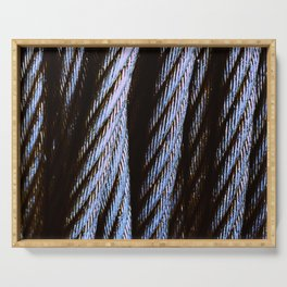 Black, Silver-Gray Cable Cords Close-Up In Dappled Light Serving Tray