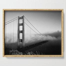 Golden Gate Bridge | Black and White San Francisco Landmark Photography Shot From Marin Headlands Serving Tray