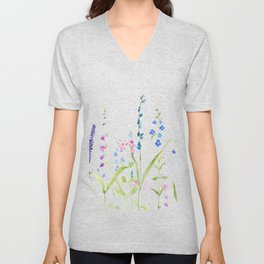 purple blue wild flowers watercolor painting Unisex V-Neck