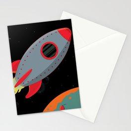 Cute Gray Rocket Ship Stationery Cards