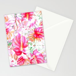 Tropical red pink orange watercolor floral pattern Stationery Cards