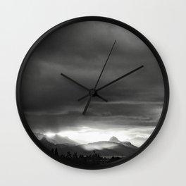 Sunrise over Kachemak Bay, Alaska - Black and White Wall Clock