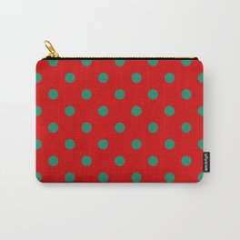 Extra Large Elf Green Polka Dots on Candy Cane Red Carry-All Pouch