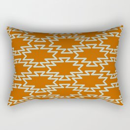 Southwest Azteca - Southwestern Geometric Pattern in Aqua and Rust Rectangular Pillow