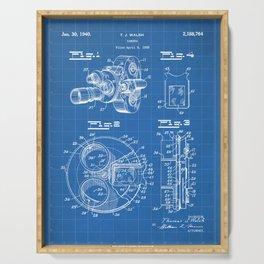 Movie Camera Patent - Film Camera Art - Blueprint Serving Tray