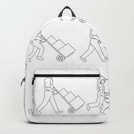 Delivery Worker Pushing Hand Cart Walk Sequence Drawing Backpack