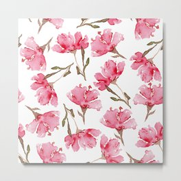 Abstract Digital Watercolor Painting Pink Carnation Blooms on White Pattern Metal Print