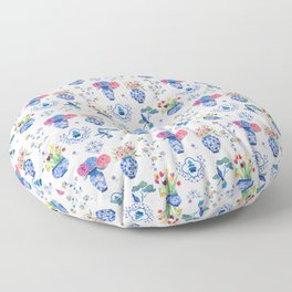 China vases and flowers pattern Floor Pillow