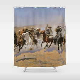 """Frederic Remington Western Art """"Dash For The Timber"""" Shower Curtain"""