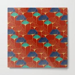 Gingko Biloba Leaves Abstract Pattern (red Background) Metal Print