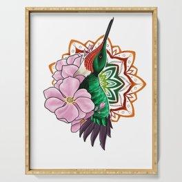Hummingbird and Mandala Serving Tray