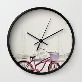Pink Bicycle on Shore and Sailboats at Sea Wall Clock