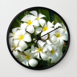 Tropical Island Exotic Plumeria Flowers From Hawaii Wall Clock