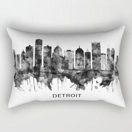 Detroit Michigan Skyline BW Rectangular Pillow