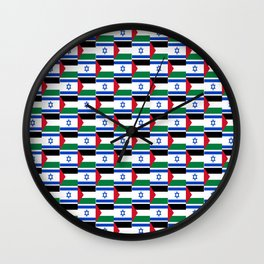 Mix of flag: Israel and Paslestine Wall Clock