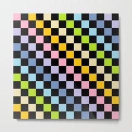 Checkered Pastel Rainbow Black Metal Print