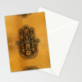 Happiness Hamsa Hand Metallic Gold Stationery Cards