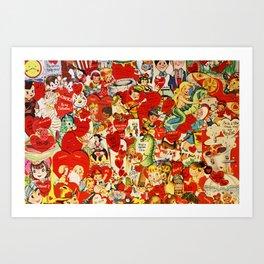 Vintage Valentine Cards - Love, Humor, Funny, Mermaids, Seahorse, Red Hearts,Couples, Reto Inspired Kunstdrucke