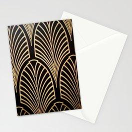 Art nouveau Black,bronze,gold,art deco,vintage,elegant,chic,belle époque Stationery Cards