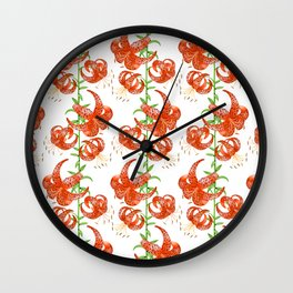 Tiger Lilies (White Background) Wall Clock