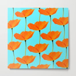Poppies On A Turquoise Background #decor #society6 #buyart Metal Print