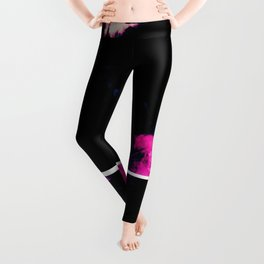 Magenta & Deep Fuschia Abstract Floral with Boxed Images Leggings