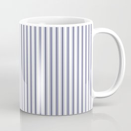 Classic Narrow Midnight Blue mattress Ticking Stripes on White Coffee Mug