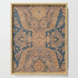 Persian Motif I // 17th Century Ornate Rose Gold Silver Royal Blue Yellow Flowery Accent Rug Pattern Serving Tray