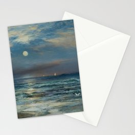 Moonlit Beach Seascape No. 2 landscape painting by Thomas Moran Stationery Cards