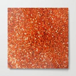 Orange Glitter Metal Print