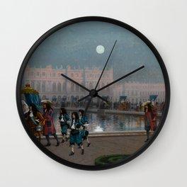Versailles Palace, France Promenade de la Cour dans les jardins French countryside landscape painting by Jean-Léon Gérôme Wall Clock