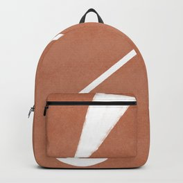 Abstract shapes composition in terracotta Backpack