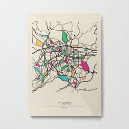 Colorful City Maps: Taipei, Taiwan Metal Print