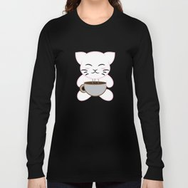 """Cute and Kawaii Coffee Cat"" for everyone! Will absolutely make you smile anytime!  Long Sleeve T-shirt"