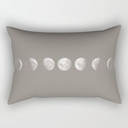 Moon Phases in Taupe Rectangular Pillow