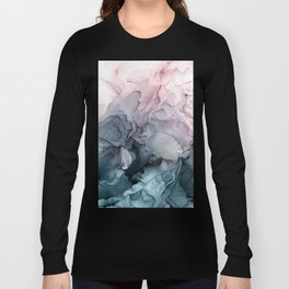 Blush and Payne's Grey Flowing Abstract Painting Langarmshirt