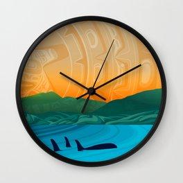 Fairview Bay, Bear & Orca Salish Coast. Wall Clock
