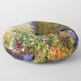 Claude Monet : A Corner of the Garden at Montgeron Floor Pillow