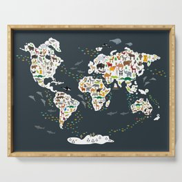 Cartoon animal world map for children, kids, Animals from all over the world, back to school, gray Serving Tray