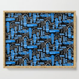 Gamer Lingo-Black and Blue Serving Tray