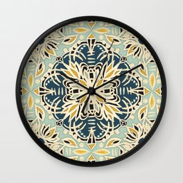 Protea Pattern in Deep Teal, Cream, Sage Green & Yellow Ochre  Wall Clock
