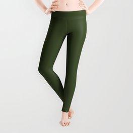 Chive Green Trending Color Solid Basic Simple Plain Leggings
