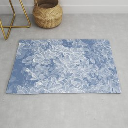 foliage navy tone botanical art washed out effect aesthetic photography Rug