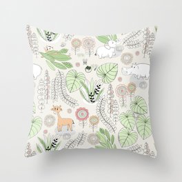 Baby Safari Animals Line Art by Tresa Throw Pillow