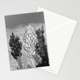 Alpinia purpurata – Red Ginger Flower - Black and White Greyscale Stationery Cards