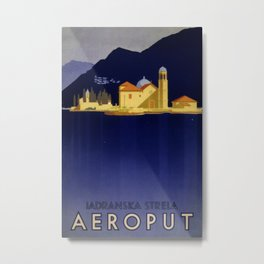 Aeroput Iadranska Strela Vintage Travel Poster Metal Print