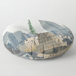 New York cityscape with Empire State and Statue of Liberty Floor Pillow