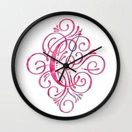 Pink Watercolor Letter C Monogram Wall Clock